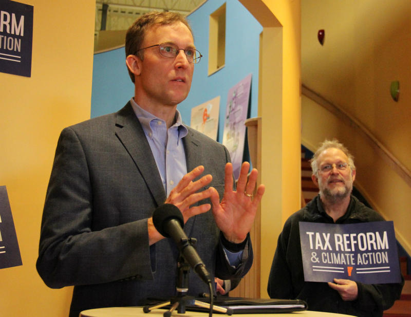 With encouragement from Ben & Jerry's co-founder Jerry Greenfield (right), South Burlington Rep. Martin LaLonde proposes to use a new fee on fossil fuels to help fund Vermont's state education fund.