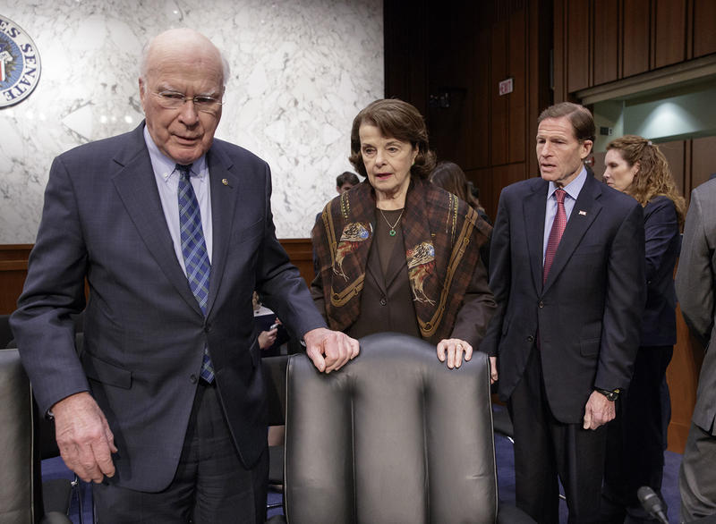 Democratic members of the Senate Judiciary Committee, from left, Sen. Patrick Leahy, D-Vt., the committee's ranking member Sen. Dianne Feinstein, D-Calif. and Sen. Richard Blumenthal, D-Conn. arrive on Capitol Hill in Washington, Monday, April 3, 2017.
