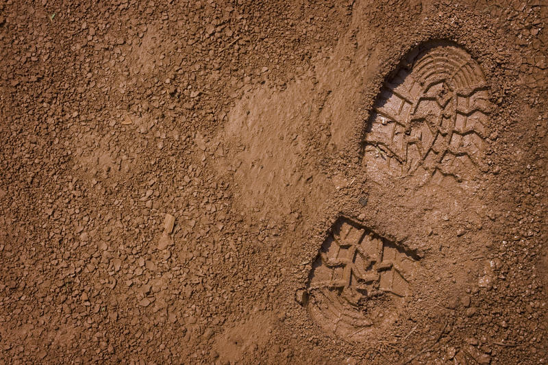 A bootprint in the mud.