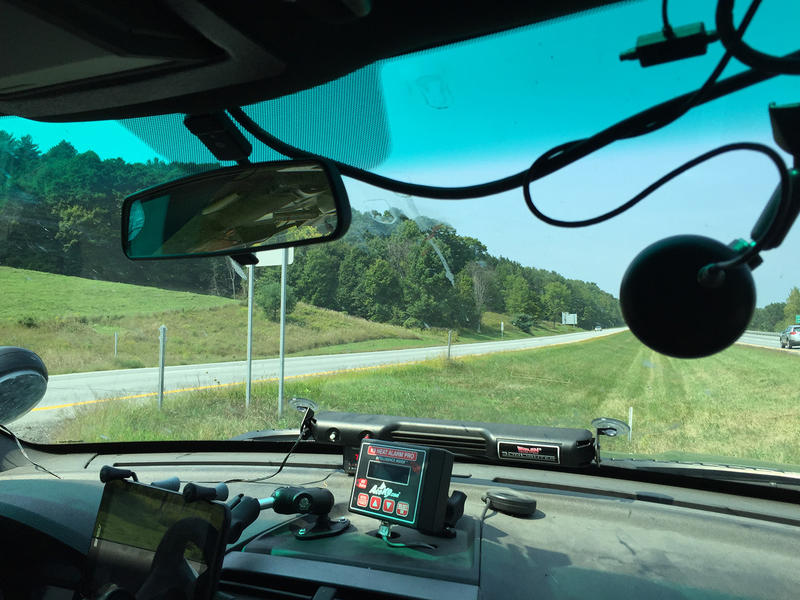 A Vermont State Police cruiser watches for speeding drivers on I-89 in September 2015.