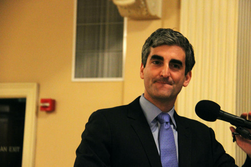 Burlington Mayor Miro Weinberger at podium in April 2017.