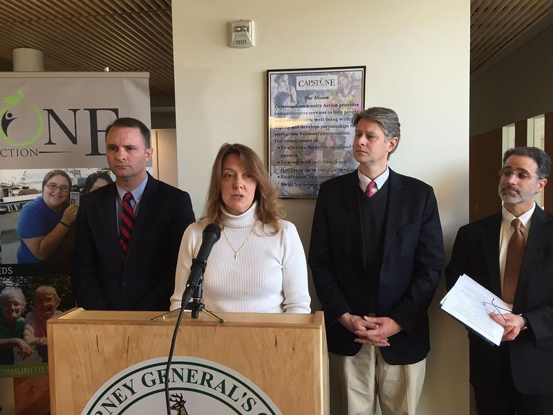 Cheryl Willette, center, is one of thousands of Vermonters who have been targeted by people impersonating IRS officers in scam phone calls. Attorney General TJ Donovan, left, says scam calls are on the rise.