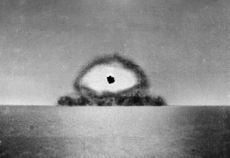 This photo made by a U.S. Army automatic newsreel camera, shows the test explosion of the world's first atomic bomb at Alamagordo, N.M., on July 16, 1945.