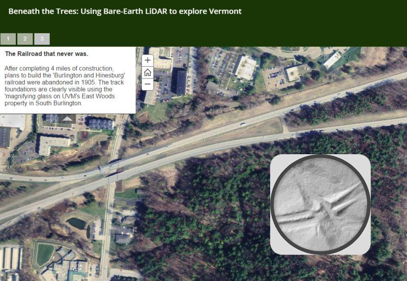 A map from Vermont Center for Geographic Information uses LIDAR data to reveal the history under Vermont's tree cover. See below for a full interactive version of this map.