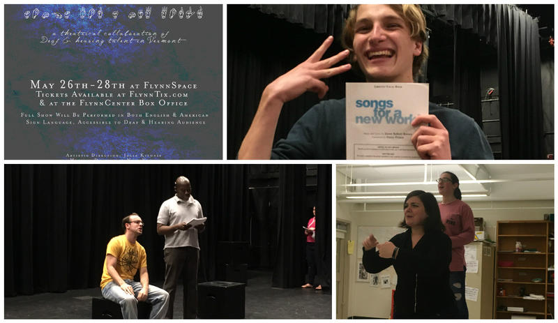 (clockwise from left) The poster from CVU's production of 'Songs For A New World;' actor Weller Henderson holds the script; actors Liz Pattison and Emma Lieberman and Jayden Choquette and Don Petit-Homme