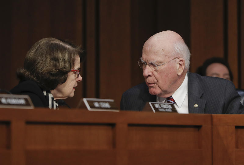 Sen. Patrick Leahy, shown here with Sen. Diane Feinstein, D.-Calif., at a Senate Judiciary Committee hearing on Russian interference in the presidential election, wants a special prosecutor to examine possible ties between the Trump campaign and Russia.