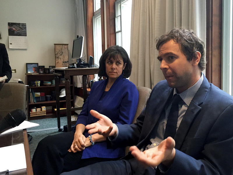 House Speaker Mitzi Johnson, left, and Senate President Pro Tem Tim Ashe say they're trying to include as many lawmakers as possible in the negotiations with Gov. Phil Scott.