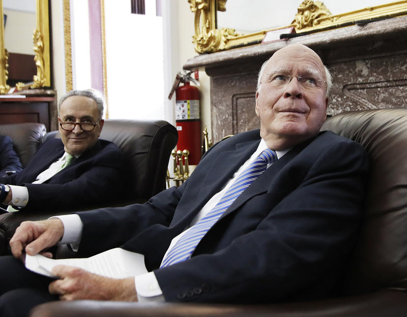 Sen. Patrick Leahy, right, and Senate Minority Leader Charles Schumer of New York  at a briefing on Capitol Hill in Washington on Monday to discuss the bipartisan agreement to fund the government.