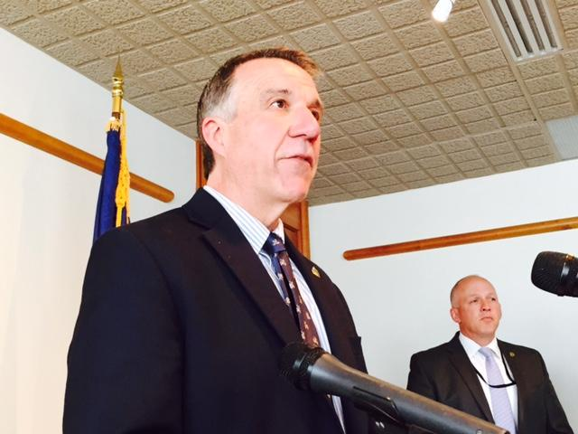 Gov. Phil Scott, seen here at a press conference in Montpelier in late May, says he didn't ask House Republicans to support a rules suspension during the veto session that would have allowed a new marijuana legalization bill to be debated on the floor.