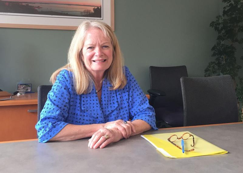 UVM Medical Center President Eileen Whalen, pictured here in 2017, seated at a desk.