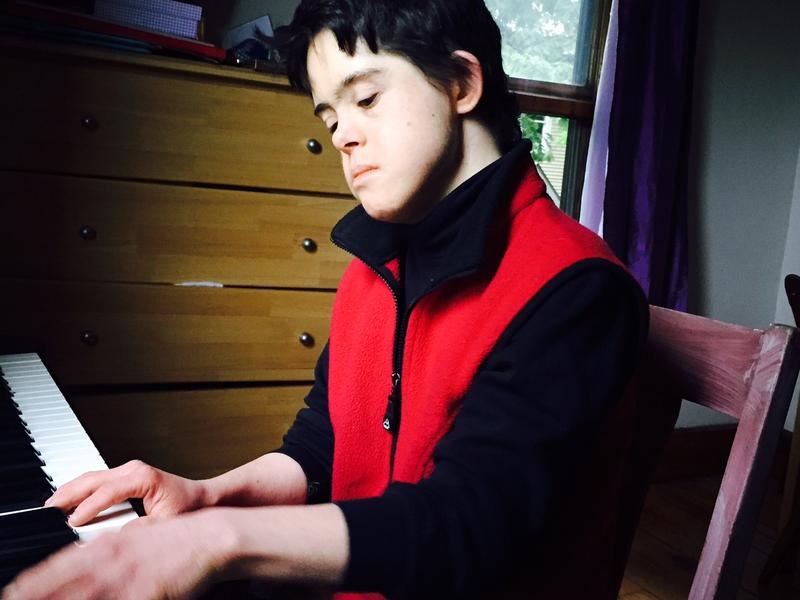 Katharine Breunig plays piano in her apartment in Brattleboro. Vermont wants adults with developmental disabilities to have more power to make decisions in their lives.