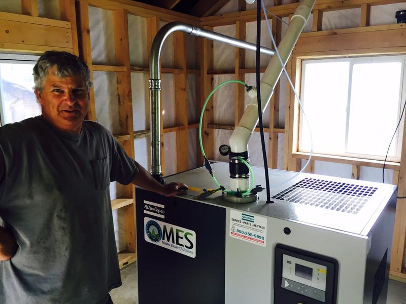 Dan Crocker owns Sidelands Sugarbush in Westminster. Crocker just installed an energy efficient industrial vacuum pump, which he says improves the health of his maple trees.