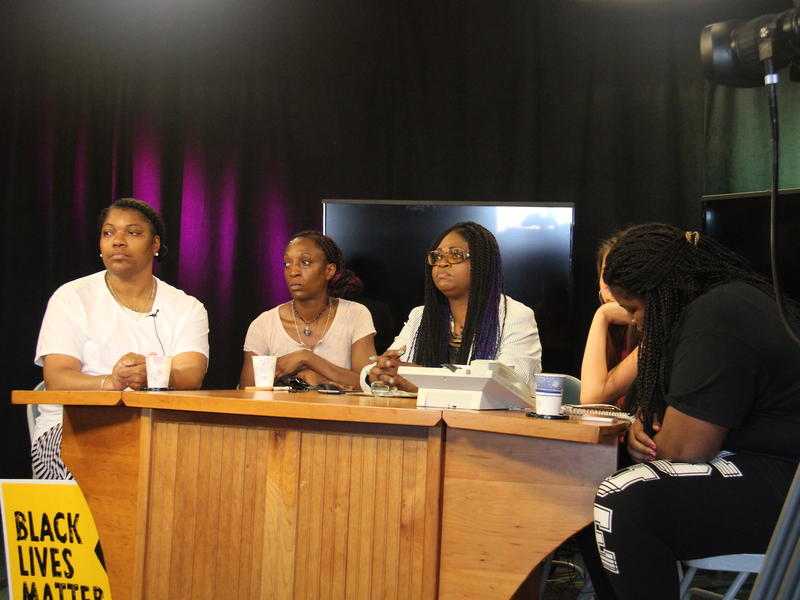 Maria Twitty (left) and Omega Jade spoke about racism in Milton schools on public access television with Black Lives Matter VT organizer Ebony Nyoni (center). Twitty said her daughter Mikhayla, right, was suspended for reporting a racist slur.