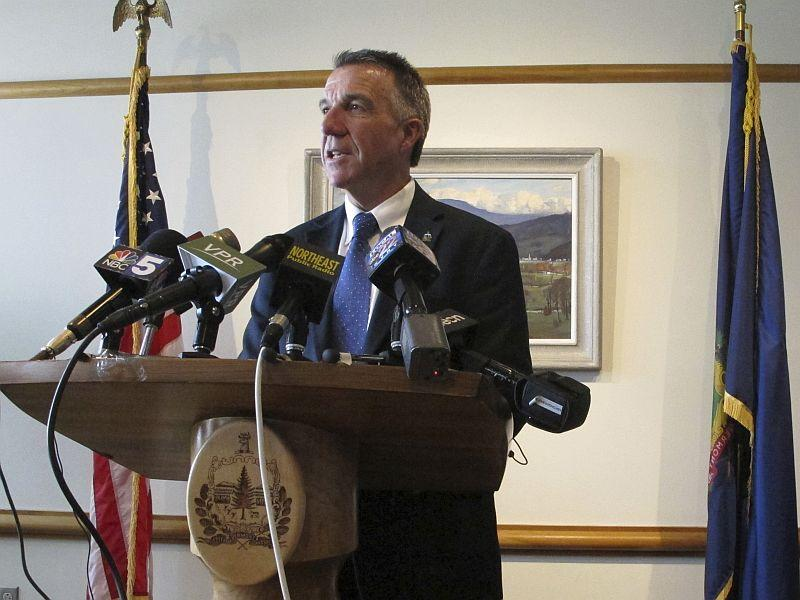 Gov. Phil Scott, shown announcing that he was vetoing the marijuana bill, will discuss this and other legislation from the most-recent session.