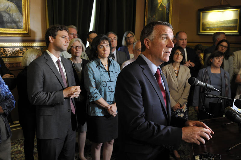 Gov. Phil Scott and legislative leaders announced details of a compromise Wednesday that will require school districts across Vermont to cut spending by $13 million over the next two years.