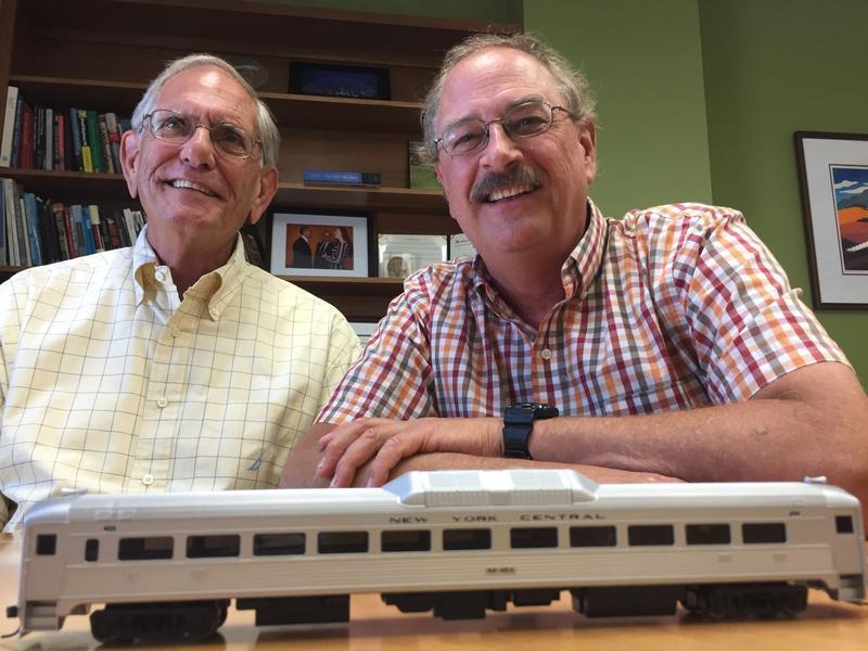Railroad veteran Charlie Moore, left, has joined David Blittersdorf, right, in Blittersdorf's effort to establish commuter rail in Vermont.