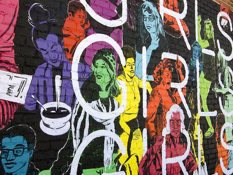 Emily Herr, who created this mural in Richmond, Virginia, is headed to Burlington to paint a wall as part of her Girls Girls Girls Mural Tour.