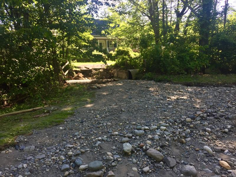 A Norwich home on Turnpike Road is inaccessible by road after its bridge and culvert were destroyed.