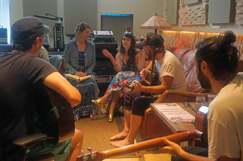 Musicians and child care advocates gathered at a Burlington recording studio last week to work on the arrangement for 'Something Beautiful'. Shown here, from the left, are Chris Dorman, Anna Gebhardt, Kat Wright, Bob Wagner and Josh Weinstein.