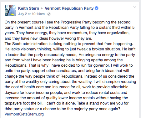 Keith Stern, who owns a produce stand in White River Junction, announced on Facebook Sunday that he'll challenge Scott in the 2018 Republican primary.