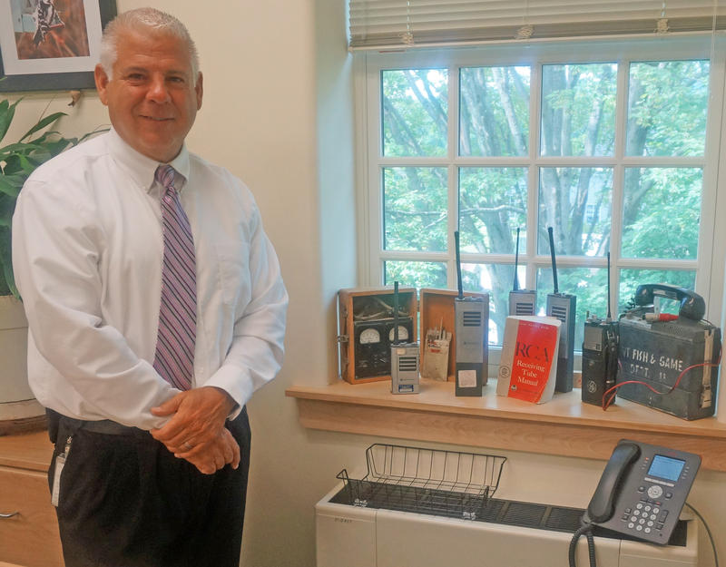 In his Waterbury office Terry LaValley, Vermont's Director of Radio Technology Services, has a collection showing the evolution of radio communications in Vermont.