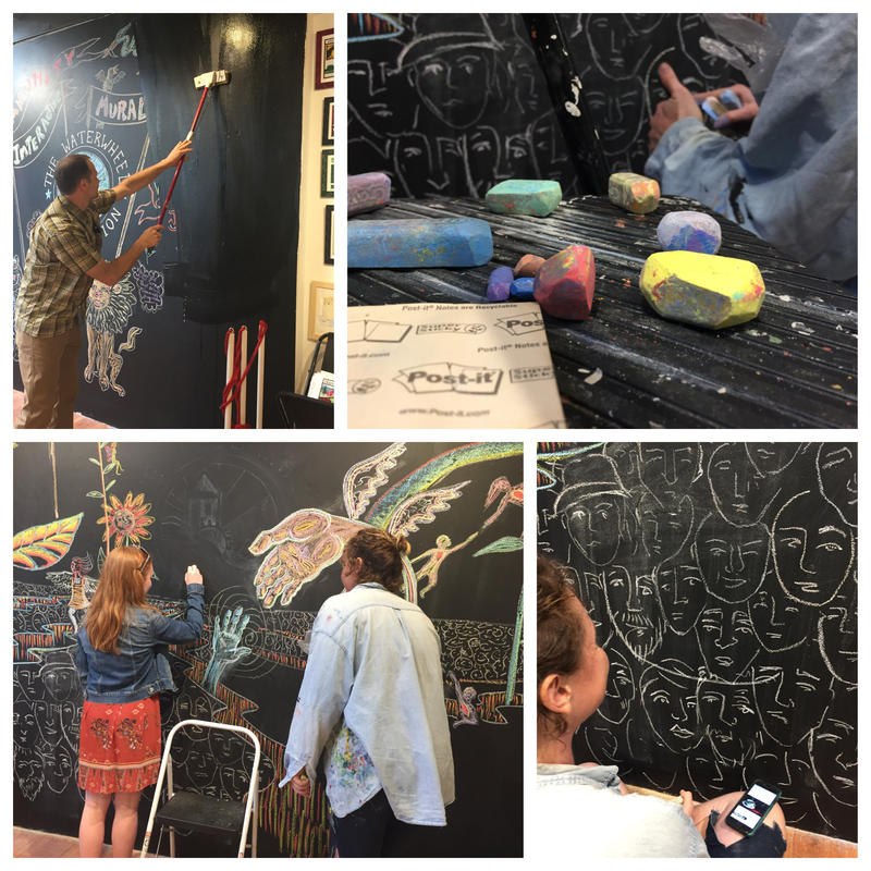 (From l to r) Frog Hollow director Rob Hunter takes a floor mop to the interactive mural designs to make way for a new one; chalk pieces used to create mural; artist Tara Goreau pauses during drawing session; a young artist joins Goreau.