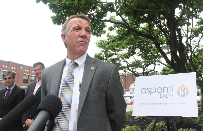 At a news conference announcing Aspenti Health's new name, Gov. Phil Scott praised company officials for saving the company's 140 jobs, and for their continued work in drug prevention and treatment.