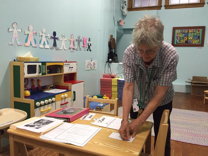 Kay Curtis sets up the new childcare center at the Brattleboro Retreat which is for the children of opioid adicts who are receiving their treatment.