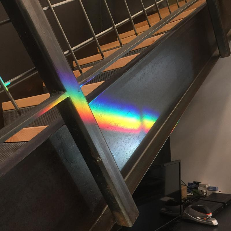 On sunny days during certain times of year, rainbows project on desks, floors and walls throughout the building. Wiemann & Lamphere, the building's architects, claim this this was not a planned design feature.