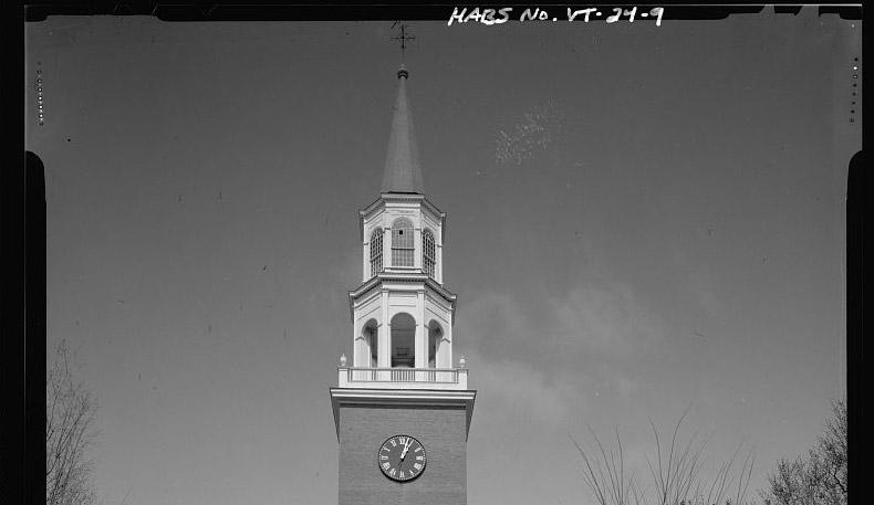 The steeple on the Unitarian Universalist church at the head of Church Street in Burlington.