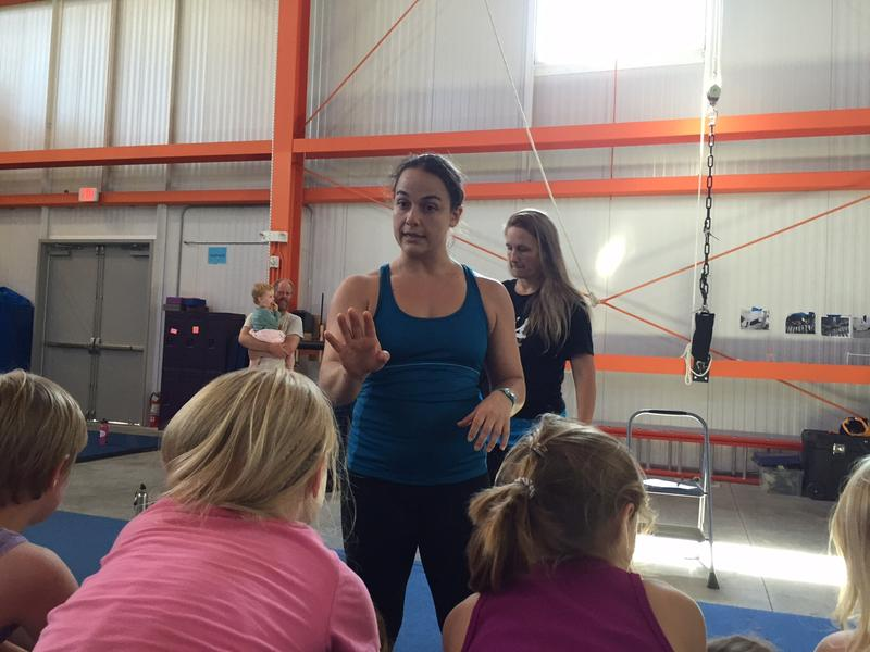 Victoria Quine leads a class during the New England Center for Circus Arts camp Wednesday.