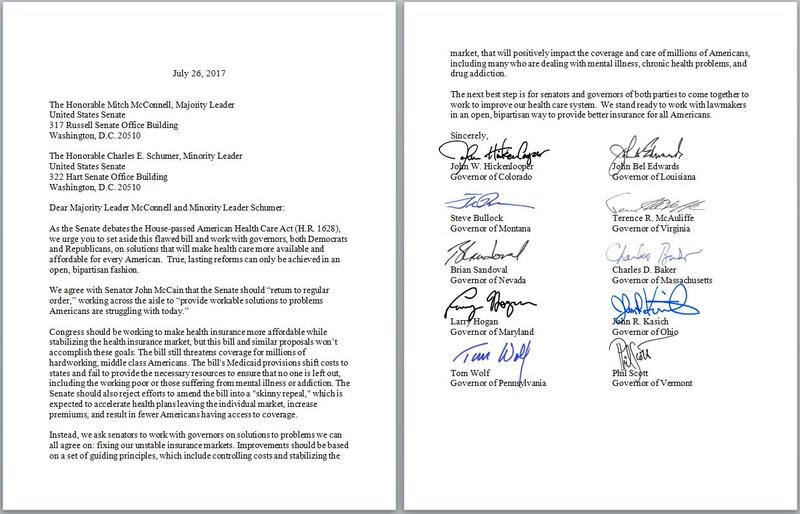 The letter signed by Vt Gov. Phil Scott and nine other bi-partisan governors from around the country, voicing concern about repealing the Affordable Care Act.
