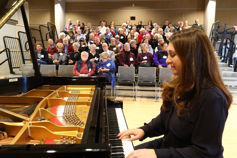 Pianist Simone Dinnerstein debuts VPR's new donated Steinway Model D concert grand piano before a live audience in Studio One.
