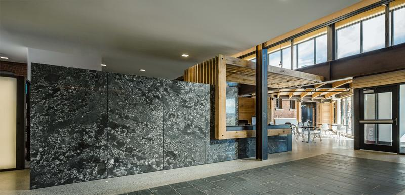 VPR's reception desk contains fossilized rock from the Lake Champlain Islands.