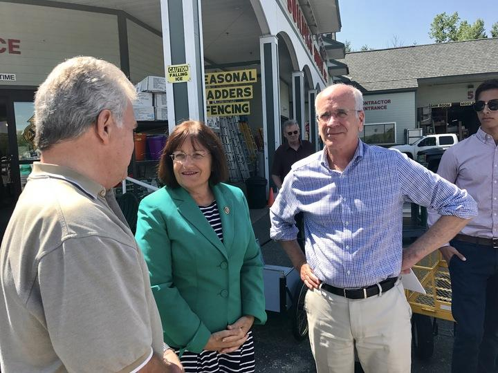 Rep. Annie Kuster, D-N.H, and Rep. Peter Welch, D-Vt., talk to a West Lebanon crowd about ways to create bipartisan healthcare reform for individual markets.