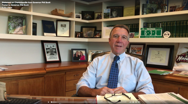 Gov. Phil Scott says he's troubled by President Trump's comments about the violence in Charlottesville last weekend.