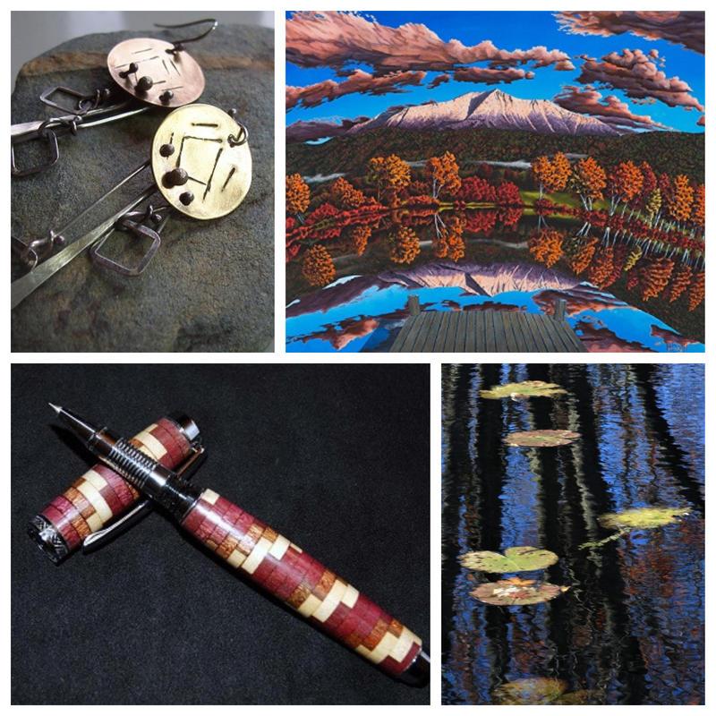 (l to r) Earrings by artist Debra Kiel; landscape by painter Brian (Bud) Hewitt; Photograph, Jo Anne Wazny; Pen by woodworker Gary Walz.