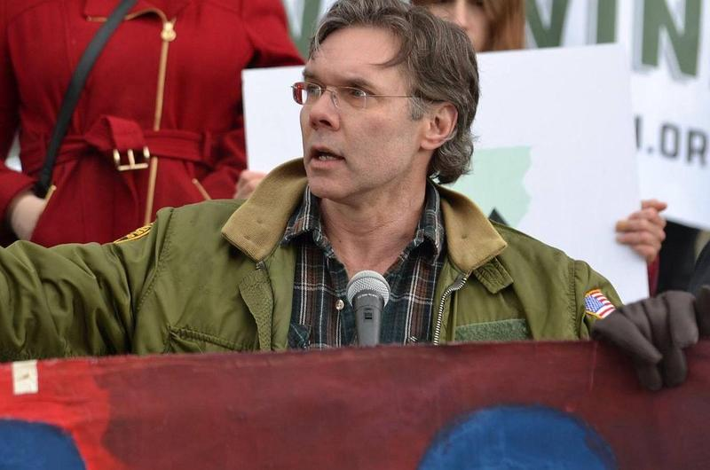 James Ehlers, seen here at a Statehouse rally earlier this year, says Vermont voters will appreciate a progressive agenda that includes a $15 minimum wage and tax increases on the wealthy.