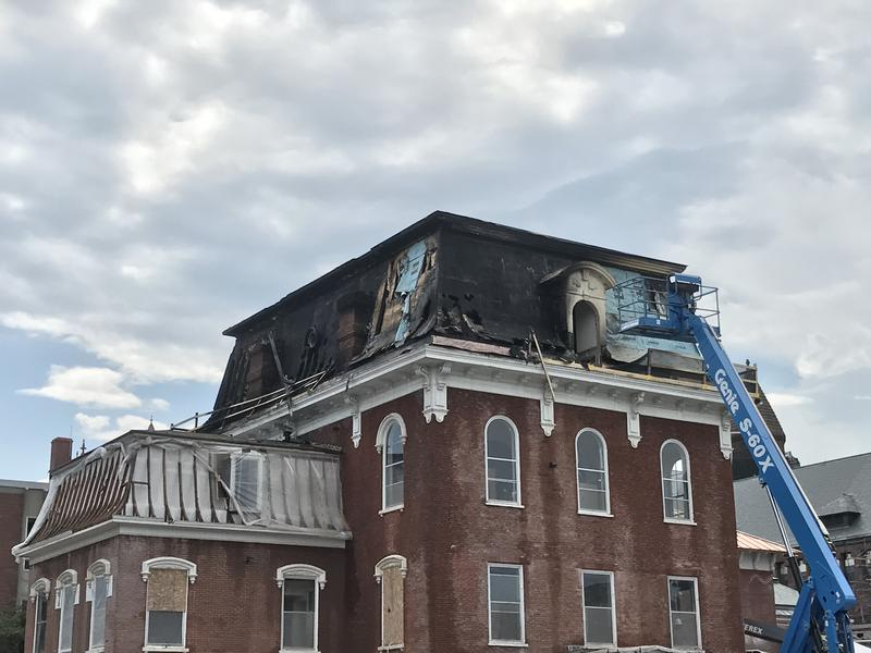 A fire this morning caused extensive damage to the top floor of Torrey Hall at UVM.