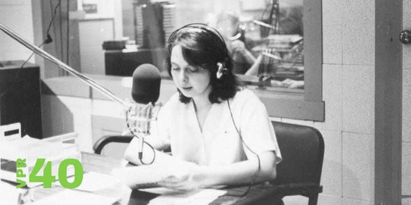 "VPR ""Founding Mother"" and current Commentary Series Producer Betty Smith behind the mic in 1978."