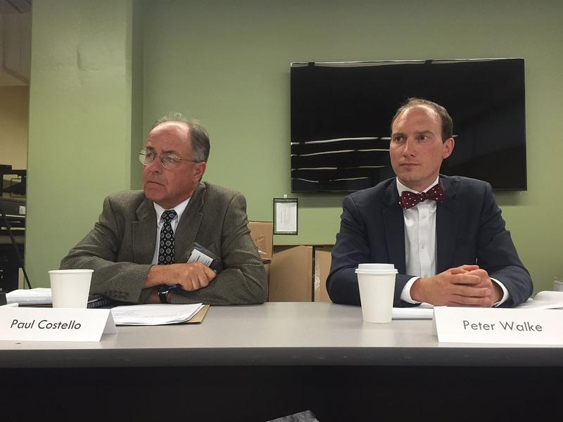 Paul Costello, left, and Peter Walke, are co-chairs of the governor's Vermont Climate Action Commission, which met for the first time Tuesday. They say Vermont can use emissions-reduction initiatives to advance the state economy.