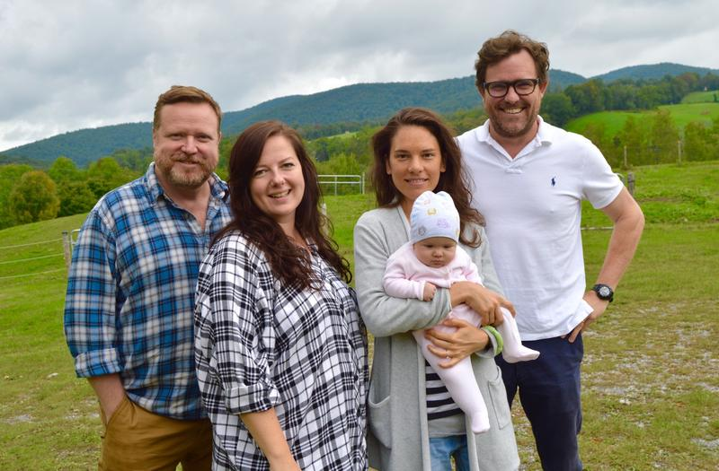 Edmund Lewis, Zuzanna Szadkowski, Susannah Millonzi and Eric Tucker, members of the acting company Bedlam, pose in Middletown Springs where they will perform this weekend. Mellonzi and Tucker include their four month old daughter Francis in the photo.