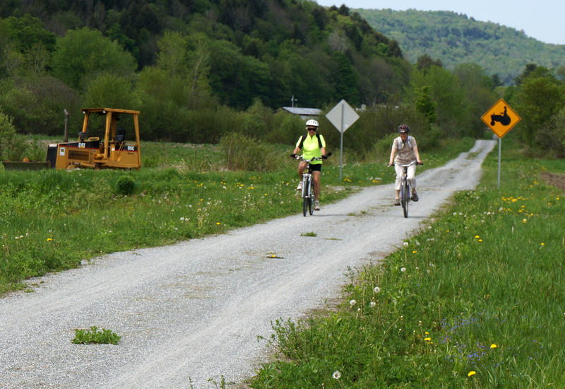 Two people bike on the Lamoille Valley Rail Trail last year. Bike paths were one topic brought up at a recent forum held by the Vermont Outdoor Recreation Economic Collaborative in Rutland, along with other outdoor recreation activities.