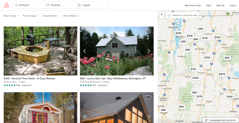 A screenshot of the Airbnb website, taken Sept. 20, shows some available rentals in Vermont. A Vermont working group is studying short-term rentals, prompting Airbnb to reach out to Vermont hosts registered on the site to share their experiences.