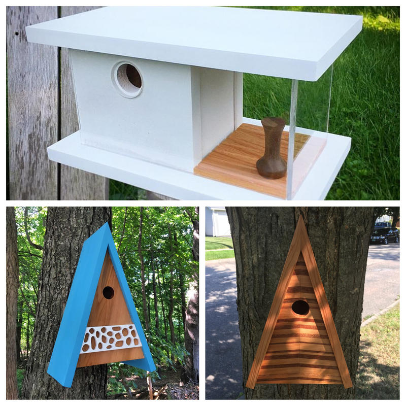 Vermont woodworker Steve Hadeka creates unique birdhouses in his workshop, Pleasant Ranch. Using local hard and soft woods and acrylic, his creations bring a modern aeshetic to a traditional form.