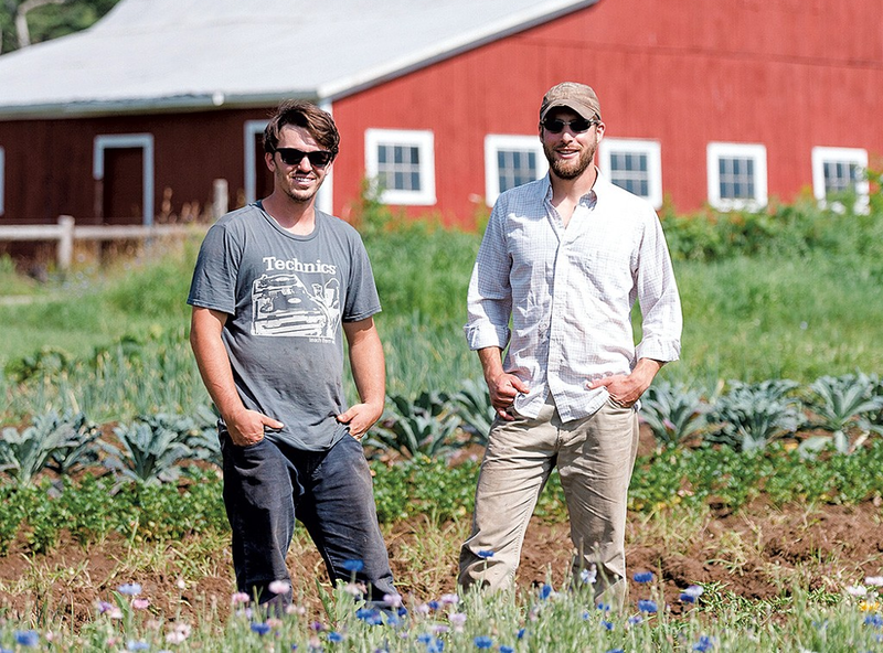 Taylor LaFleur (left) and Dillon Klepetar are the hard-working farmers and chefs cho created Farmstead Catering in Whallonsburg, NY.