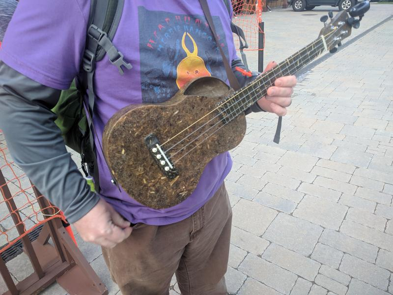 Jay Burstein, who makes ukuleles out of hemp like the one he's holding above, attended this year's Hemp Fest at Burke Mountain Resort on Sept. 9.