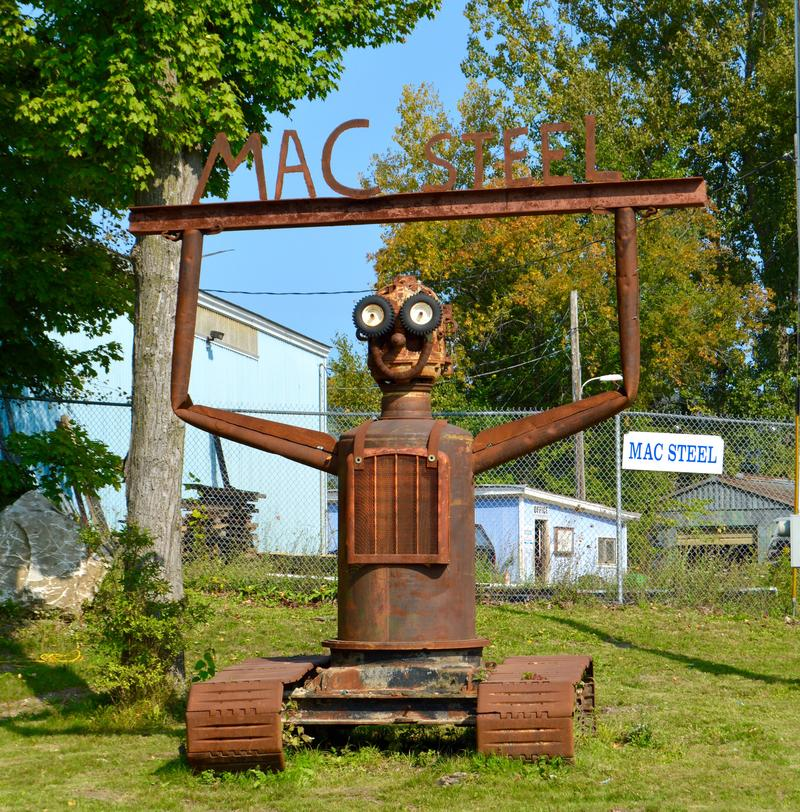 An oversized metal robot greets those who enter Mac Equipment and Steel in Rutland. The sculpture was made by Jed Danyow, a local welder who says when he's not fixing large machinery, he loves to make art with what's in the yard.