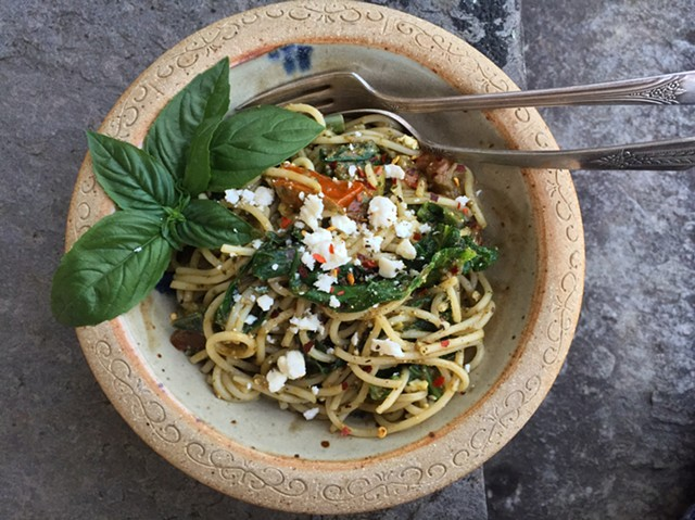"Hannah Palmer Egan's recipe for ""Amazing Awesome August Pasta"" includes kale, tomatoes, feta and pesto."
