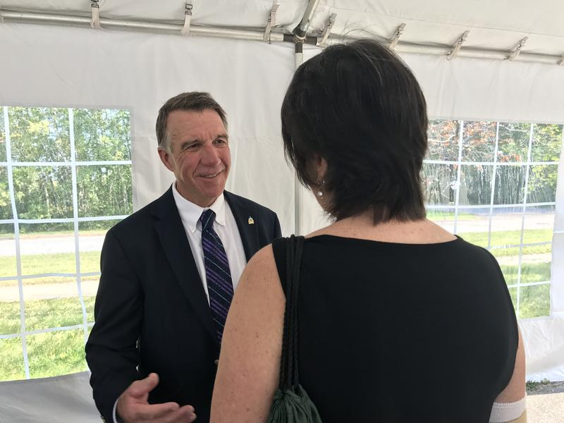 Gov. Phil Scott attends a Building Homes Together campaign event in South Burlington.